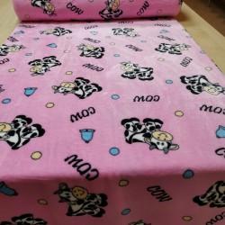 Fleece ružový kravičky